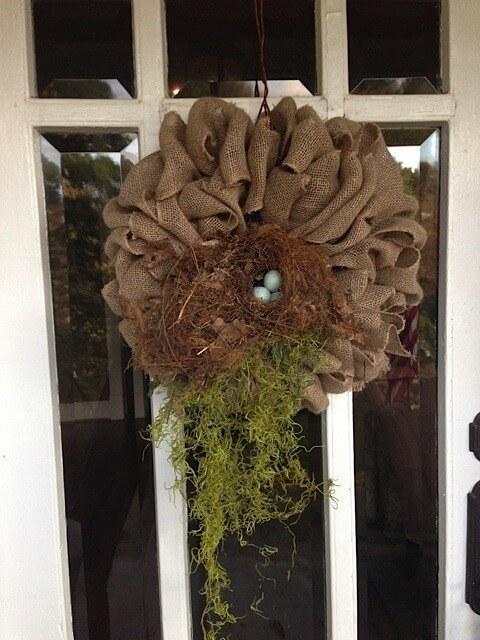 Burlap Birds nest eggs spanish moss wreath