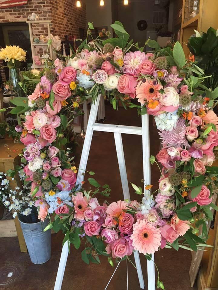 Main Street Florist created this gorgeous floral wreath. Image: Main Street Florist