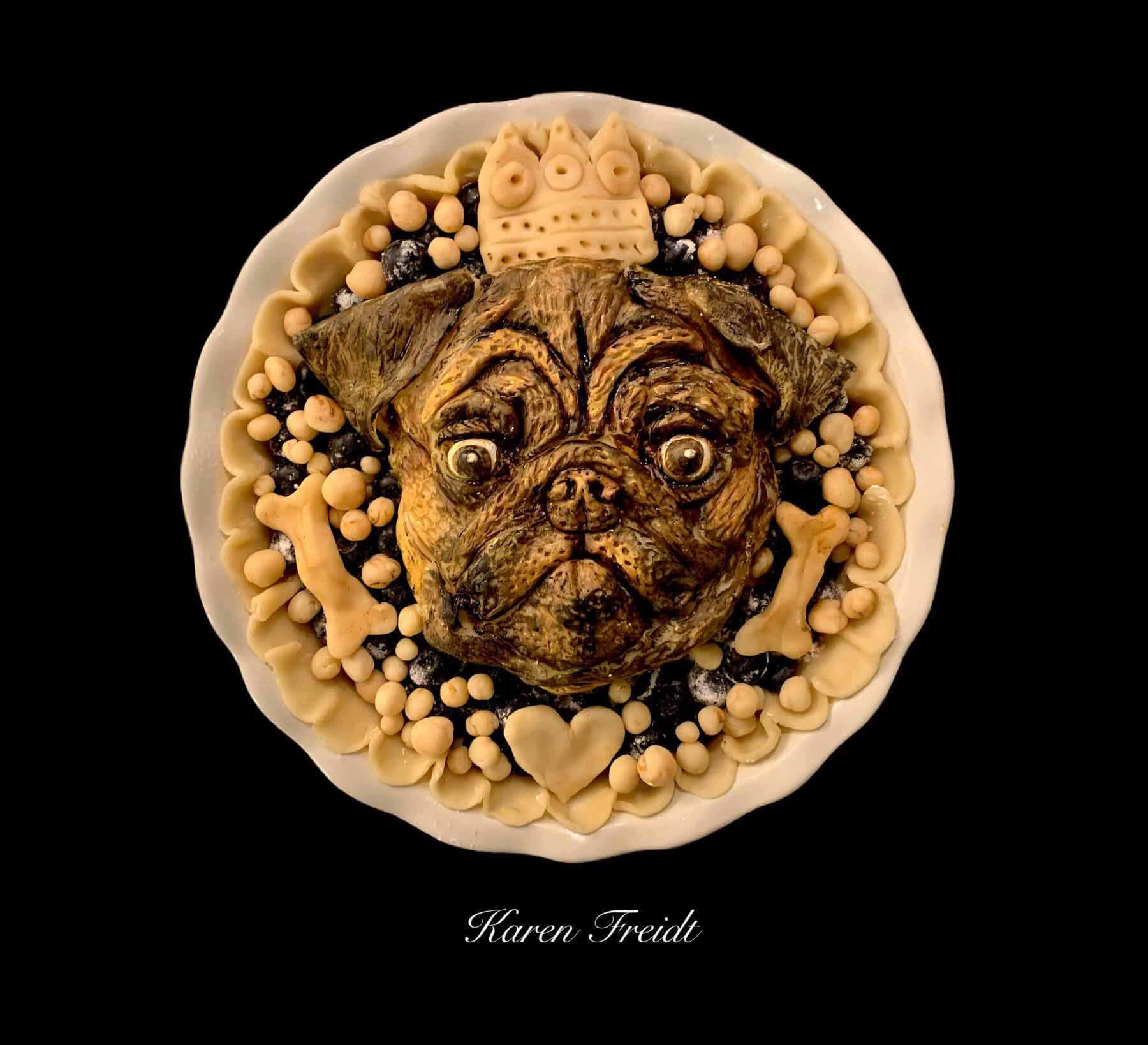 Pug pie by Pie artist Karen Freidt